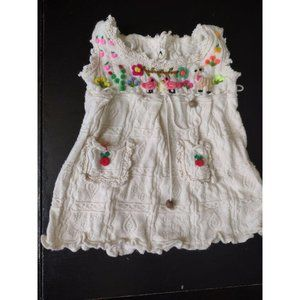Embroidered Textured Sleeveless Baby Size Unmarked